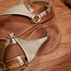 Gold thong flat sandals